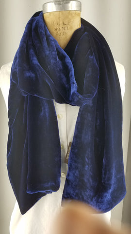 Solid Blueberry Silk Velet Scarf