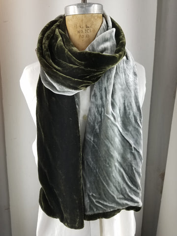 Olive and silver two-tone silk velvet scarf
