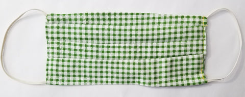 Cotton, Green and white checkered Mask