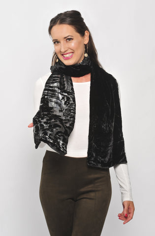 Metallic Silver and Black Scarf with Silk Velvet Back