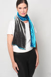 Teal Blue and Charcoal Two Tone Scarf