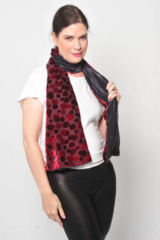 Silk velvet Red  Dots with Black silk Velvet