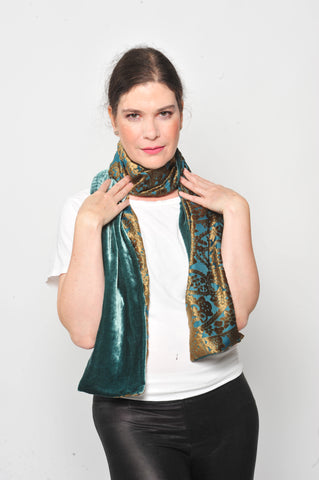 Gold and Cedar Brocade Burnout silk velvet with Cedar back