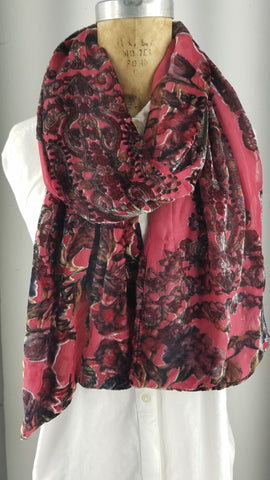 Vintage silk cut-out burnout scarf red and brown accents