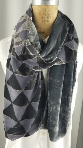 Silk velvet cut triangle burnout scarf with charcoal back