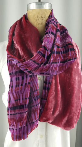 Cut silk velvet sticks across the front with a red raspberry silk velvet back