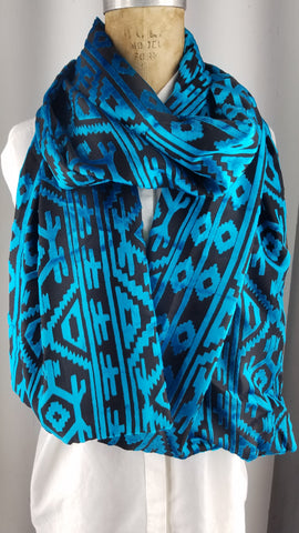Cut silk velvet tribal print teal blue geometric patterns back to back