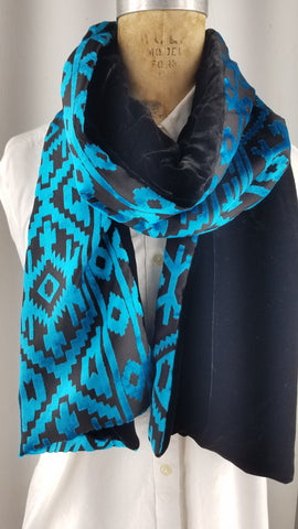 Cut silk velvet tribal print teal blue geometric patterns with back Black.silk velvet