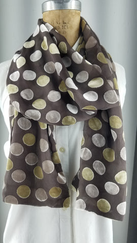 Cut silk velvet with gold and tan polka dots back to back