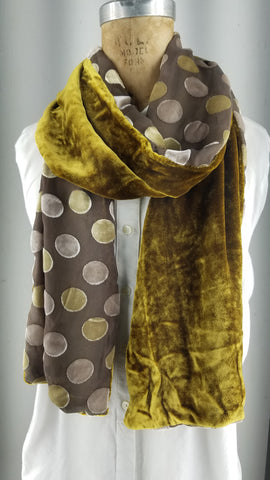 Cut silk velvet with gold and tan polka dots backed with kwki black
