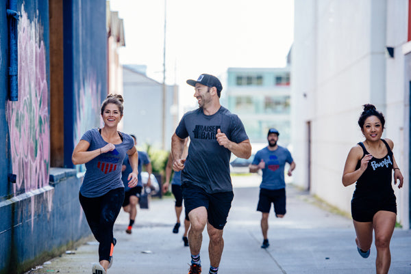 Jumpbox Fitness WOD apparel - crossfit athlete photo - running warmup