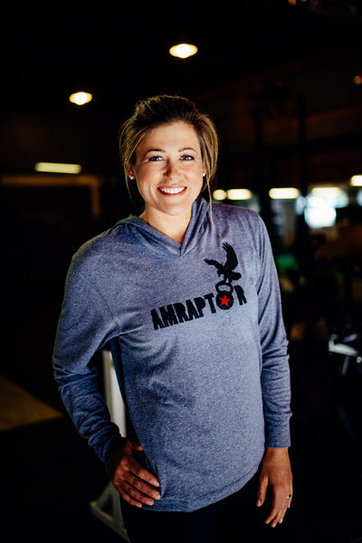 Jumpbox Fitness WOD apparel - crossfit weighlifting athlete photo - amraptor womens hoodie