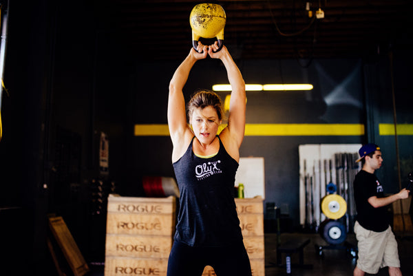 Jumpbox Fitness apparel - crossfit kettlebell athlete photo - join the kettlebellion womens tank top