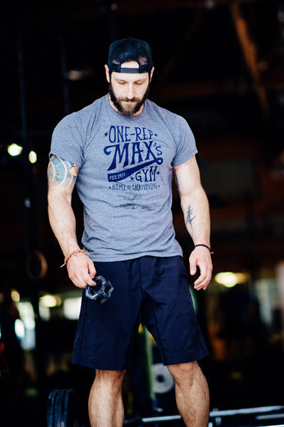 Jumpbox Fitness WOD apparel - crossfit weighlifting athlete photo - one rep max t-shirt