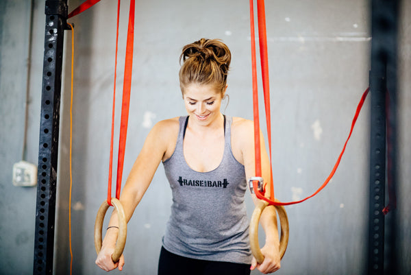 Jumpbox Fitness WOD apparel - crossfit athlete photo - Raise the Bar tank - rings