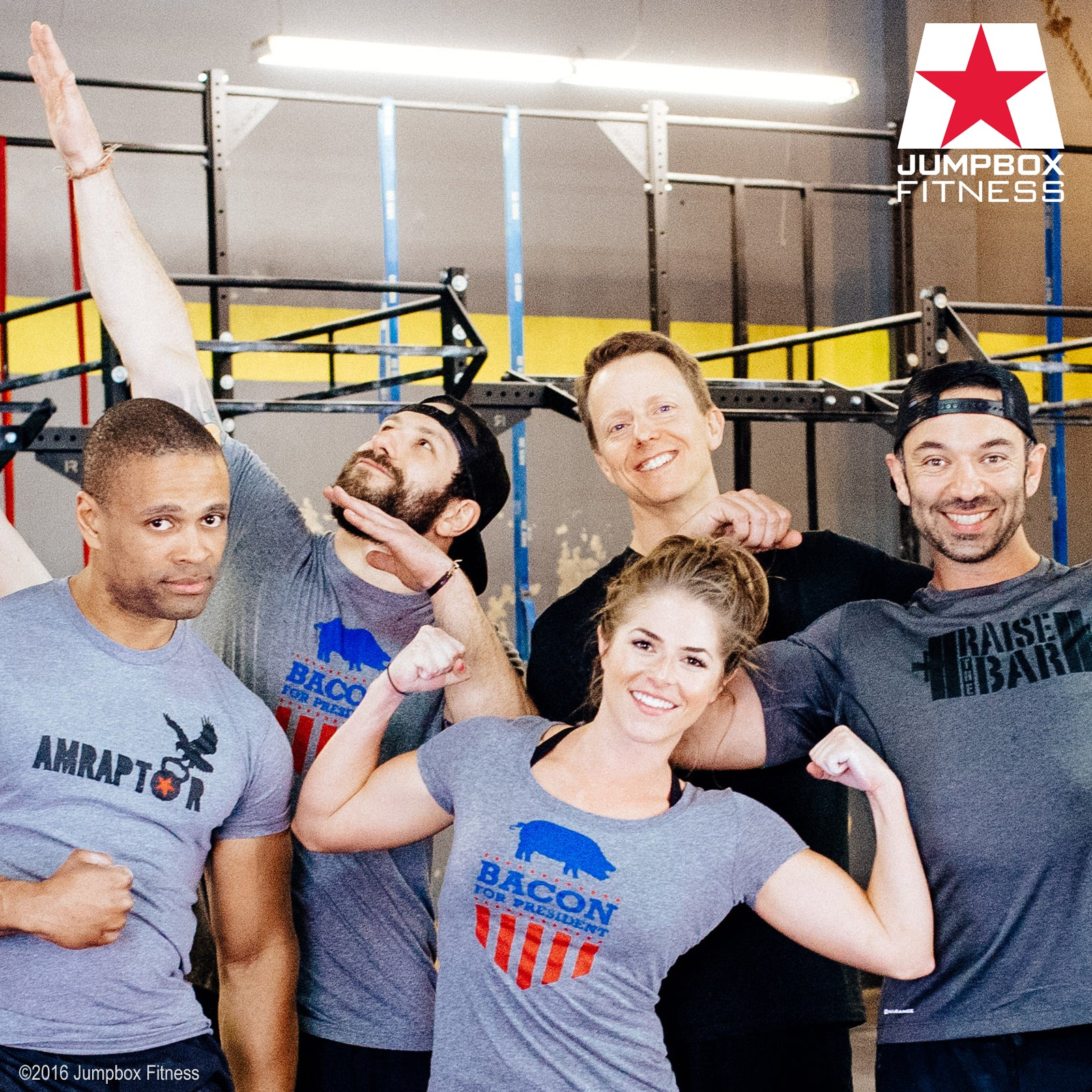 Team Jumpbox Fitness after a great crossfit WOD - Bacon for President tshirt