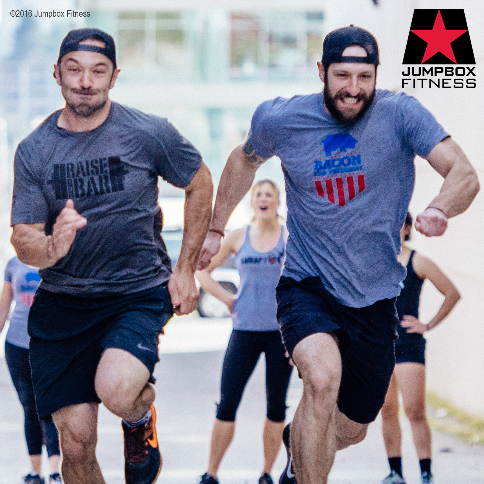 Crossfit athlete photo - running in Bacon for President men-s t-shirt - gray triblend tee