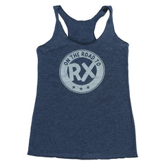 Women's crossfit gift idea - On the Road to Rx - Navy Blue - Women's Triblend Racerback Tank Top