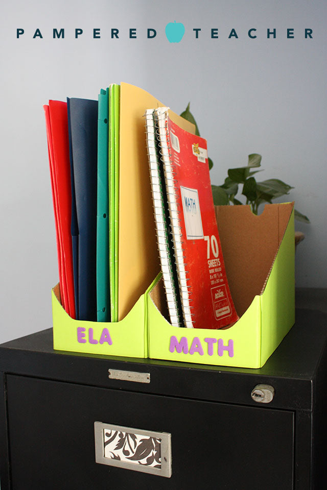 Make classroom organizers for folders and notebooks with Brothers All Natural corregated boxes. Get coupon code for the peanut-free snacks at http://Pamperedteacher.com/news