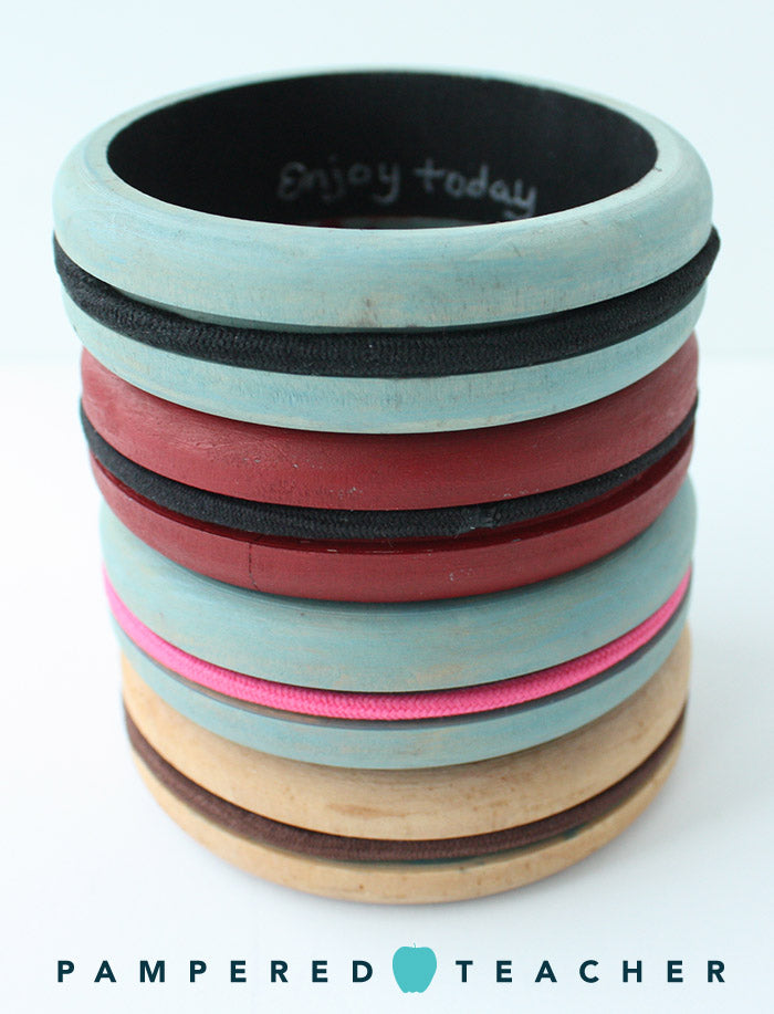 DIY wooden bangle bracelets from Pampered Teacher being featured in upcoming subscription boxes based on subscriber's style preferences - will only go to teachers who use accessories for long hair
