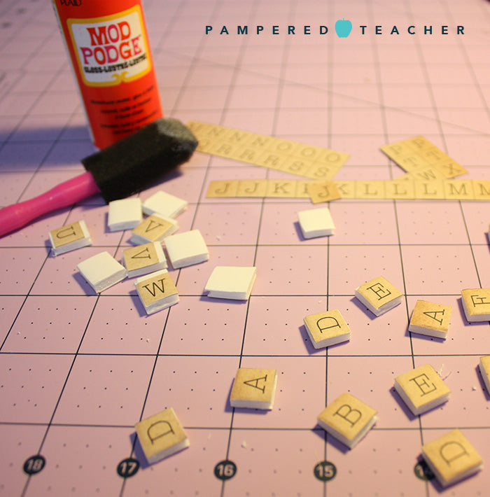Mod Podge DIY word games for kids. Teachers can make these fun learning resources themselves! Supplies featured in Pampered Teacher subscription box