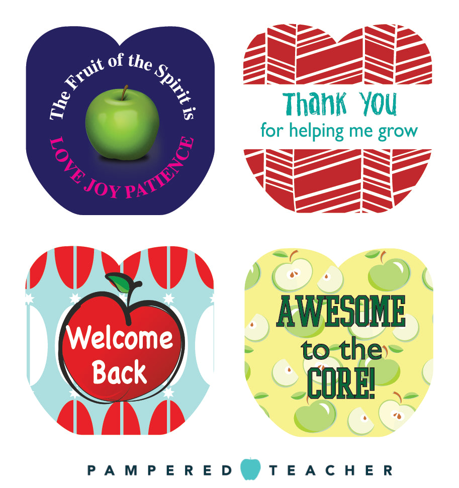 Free printable apple shaped inserts for the Pampered Teacher apple charm keychain, great teacher gifts under $10 with free shipping