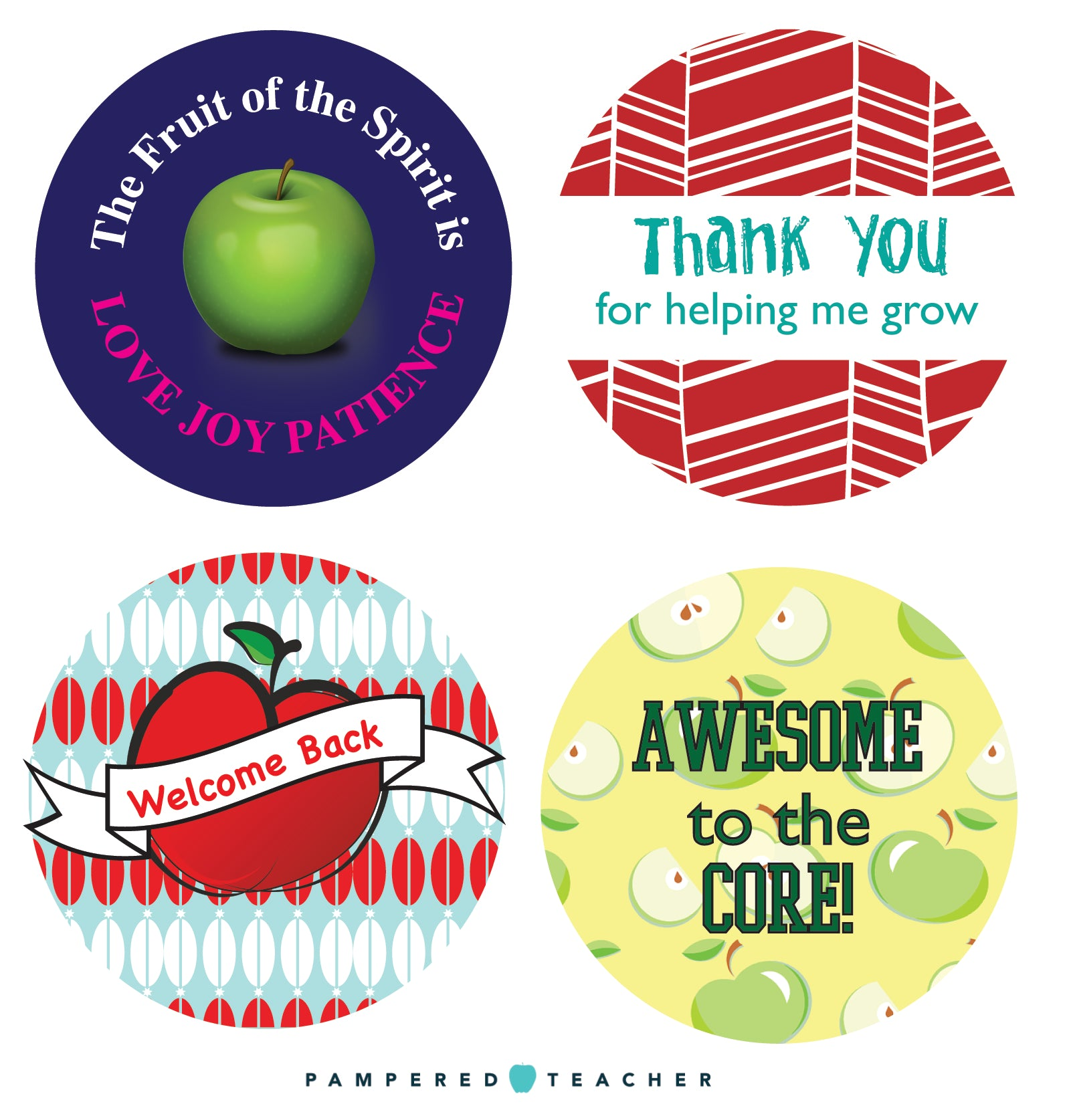 Mason Jar lid graphics free printable for Back to School teacher gifts from Pampered Teacher