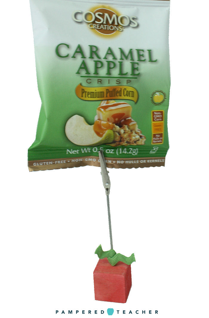 Caramel Apple crisps from Cosmos Creations make a great addition to apple themed teacher gifts and are proudly featured in the Pampered Teacher subscription boxes
