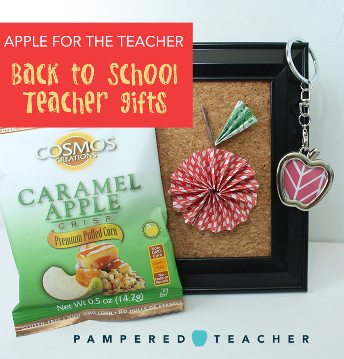 Back to School teacher gifts, apple themed ideas for students or family to give to teachers, check them out at PamperedTeacher.com