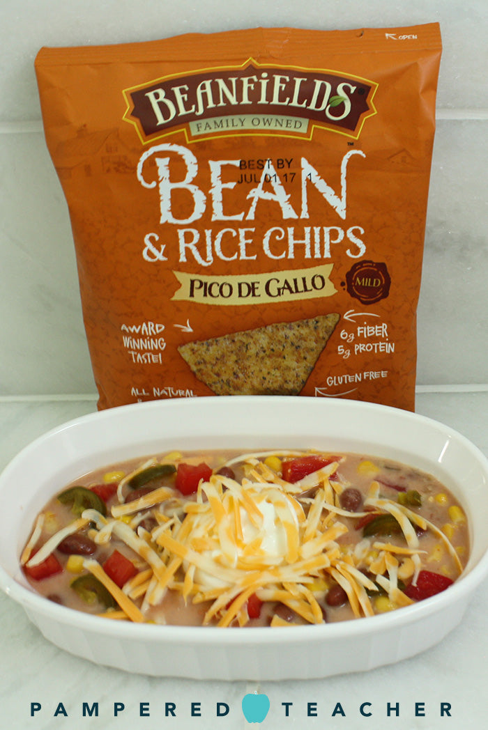 Bean and rice chips from Beanfields have 6g fiber and 5g protein per serving. A peanut-free, healthy snack that's great for school lunches
