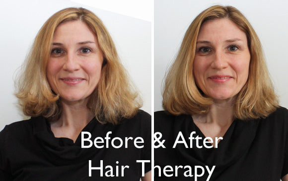 Before and After use of Arganesse hair therapy treatment from Pampered Teacher Subscription Boxes for teachers with style