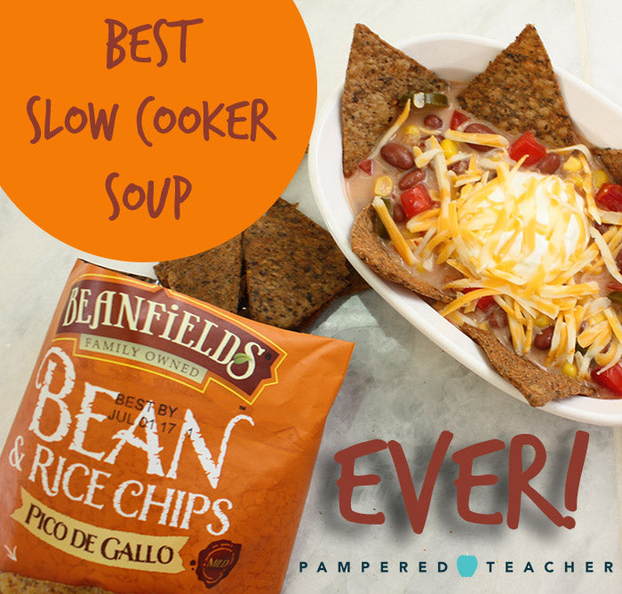 Best slow cooker soup for working moms and dads - check out the tortilla soup crock pot recipe from Pampered Teacher featuring bean chips