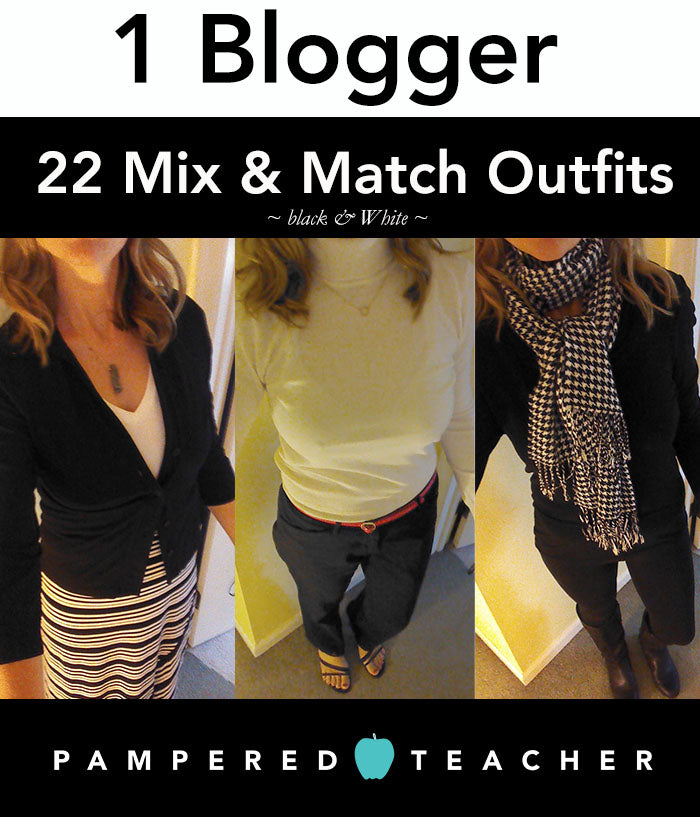 22 black and white, mix and match teacher outfit ideas and tips for dressing for work on a budget
