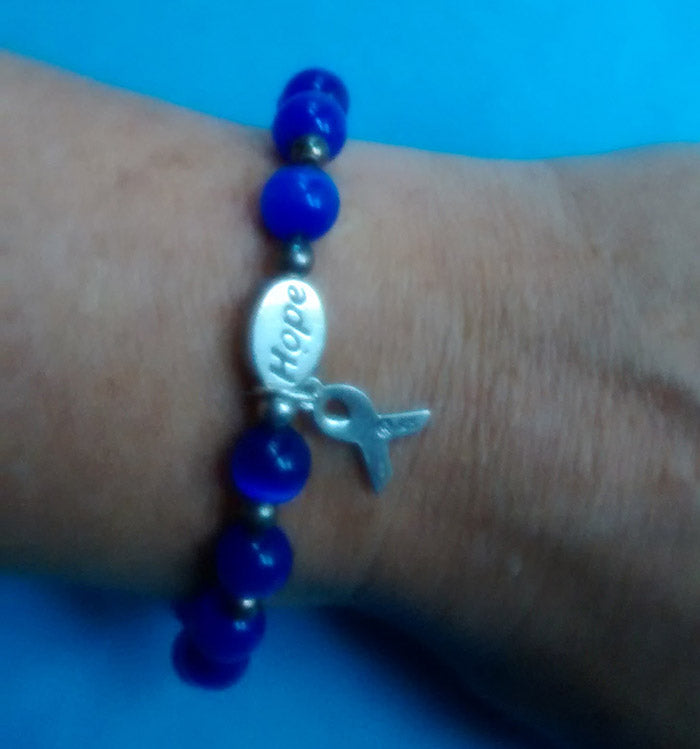 Handmade colon cancer bracelet with  hope charm