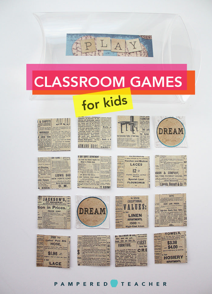 Classroom games for kids in preschool, kindergarten and elementary school for quiet time, peer play time and class activities that get students moving - supplies found in Pampered Teacher subscription boxes