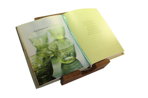 solid wood cookbook stand also serves as a copyholder and book rests - a versatile gift for teachers!