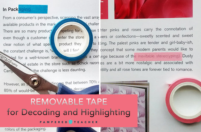 Removable tape for reading specialists and special education teachers. Highlighter tape will be featured in upcoming Pampered Teacher boxes.