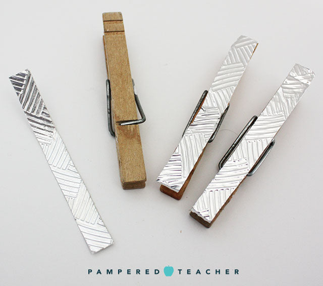 Clothespin crafts with embossed foil craft tape from Pampered Teacher