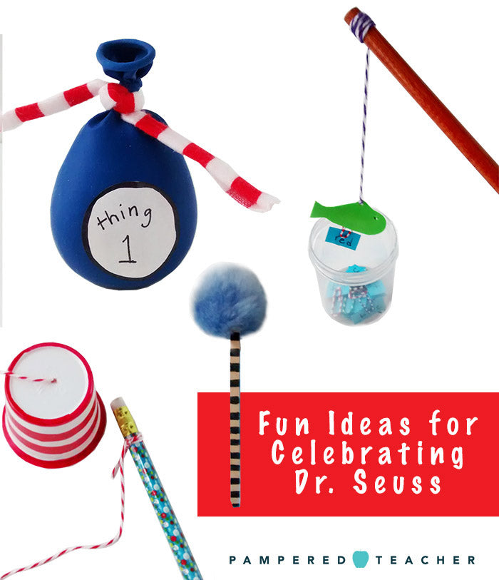 14 ways to celebrate Dr. Seuss' birthday at home and in the classroom. Find all ideas and a helpful video on the Pampered Teacher blog