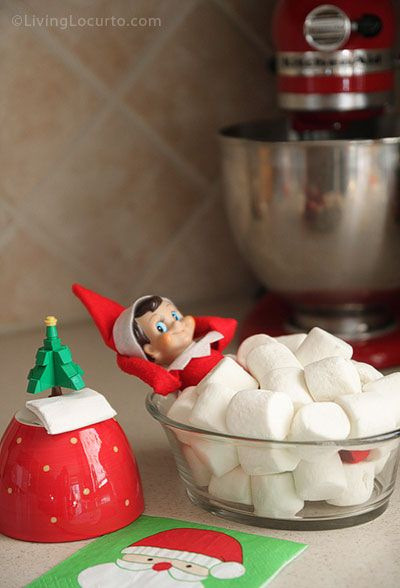 Fun with all-natural marshmallows - Elf on the Shelf Ideas - taking a bath, see all on Pampered Teacher blog