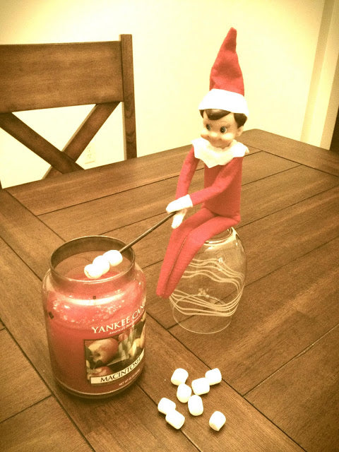 Elf on the Shelf having a Yankee Candle campfire from Picklehead Soup