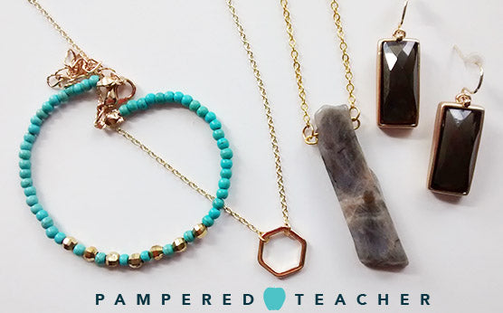 Jewelry features in Pampered Teacher boxes - elegant and simple for accessorizing teacher outfits and professional work attire.