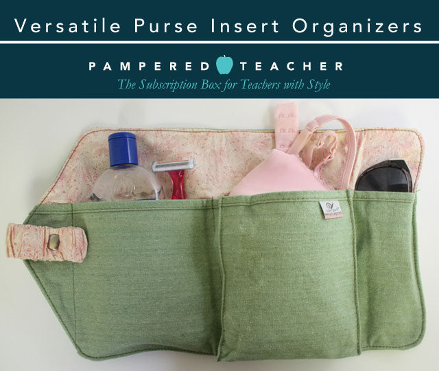 Versatile purse insert organizer for large items like beach bag essentials, reading materials and discreet underwear storage