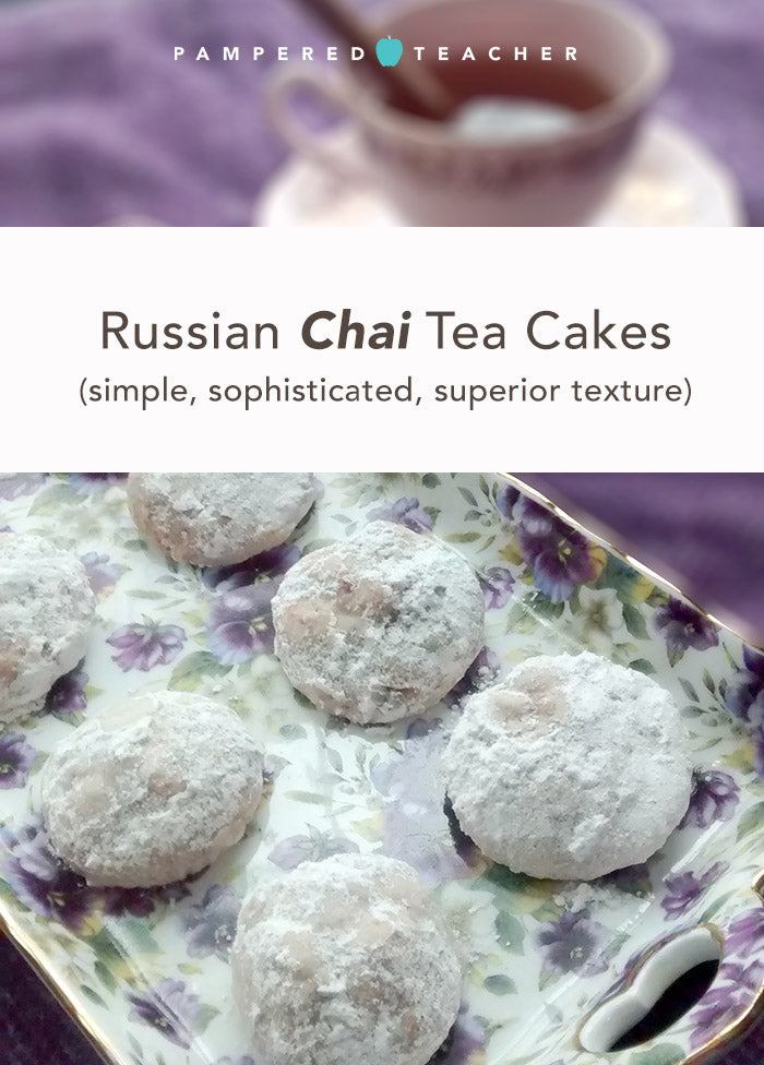 unique and simple Russian chai tea cakes recipe fro Pampered Teacher. This peanut-free cookie recipe is easy, a twist on the traditional - great for cookie exchange parties, school functions