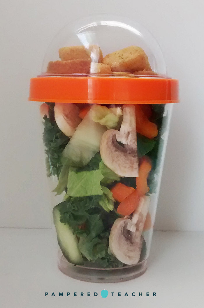 Salad to go with the croutons separated so they stay crunchy. Find 15 more healthy lunch to go ideas on the Pampered Teacher blog