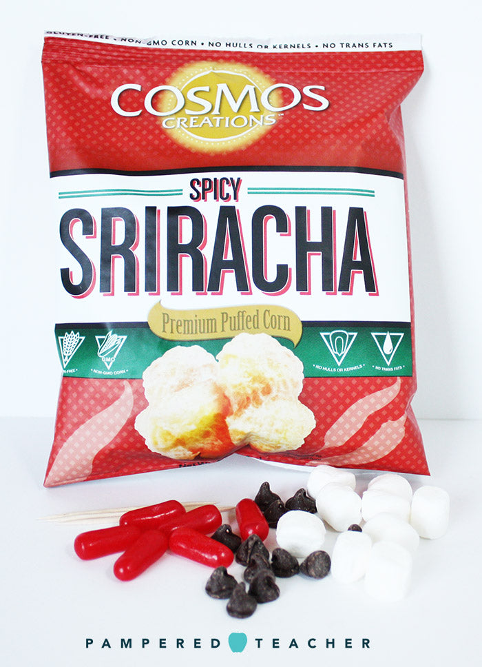 Sriracha puffed corn snacks