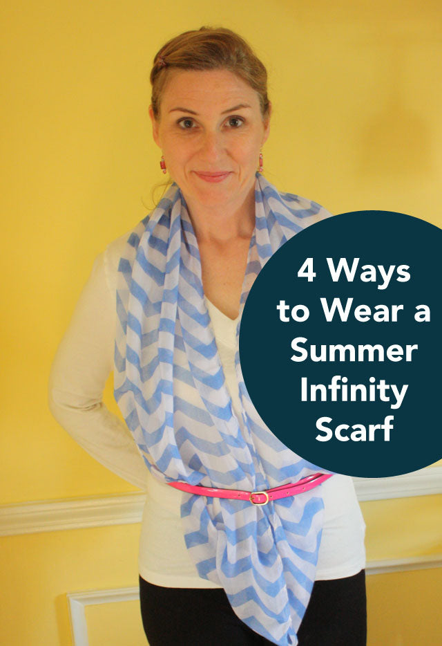 4 ways to wear a summer infinity scarf | perfect for summer work clothes, teachers in hot classrooms. Look professional but stay cool.