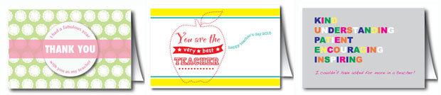 Teacher Appreciation Cards printable instant download from Pampered Teacher