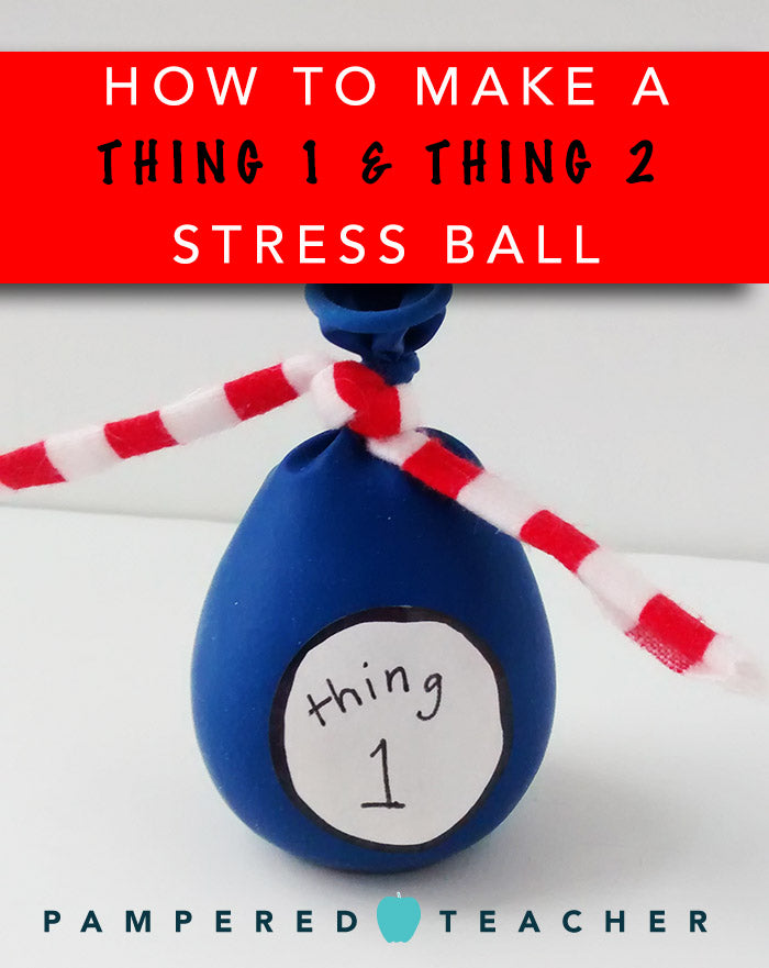 Thing 1 and Thing 2 stress ball craft and activity to celebrate Dr. Seuss with older children and school students