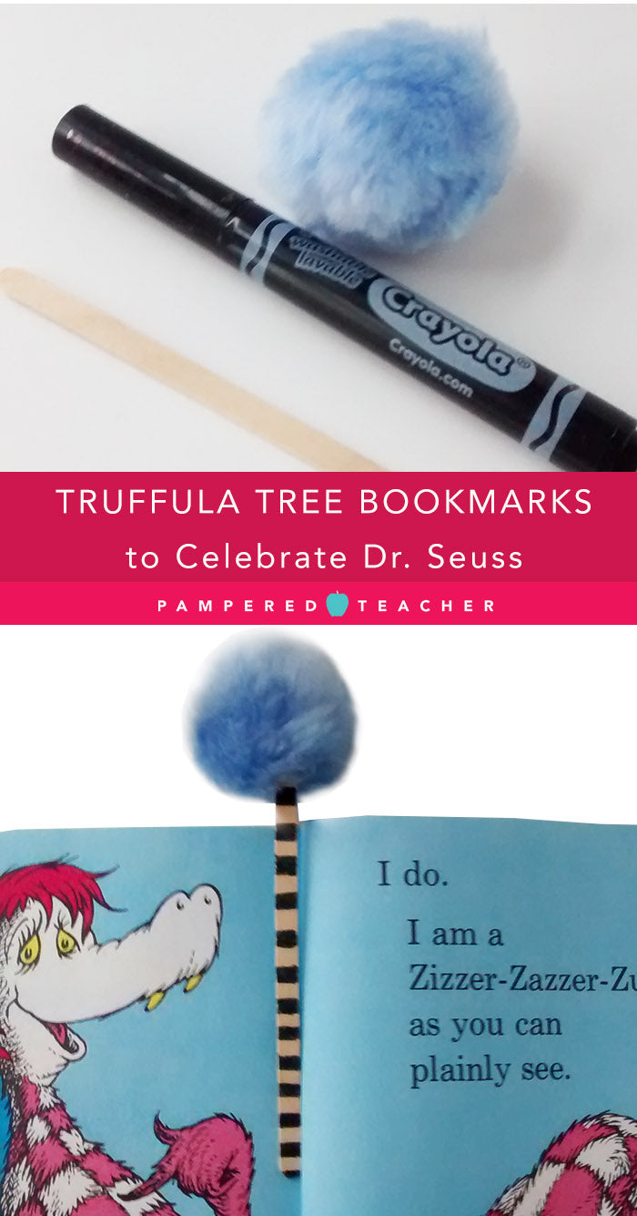 Truffula tree bookmark and more Dr Seuss crafts for teachers, students and birthday parties from Pampered Teacher